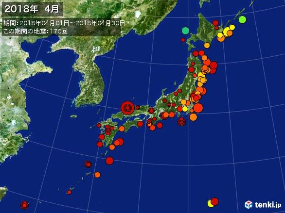 日本全体・震央分布図(2018年04月)