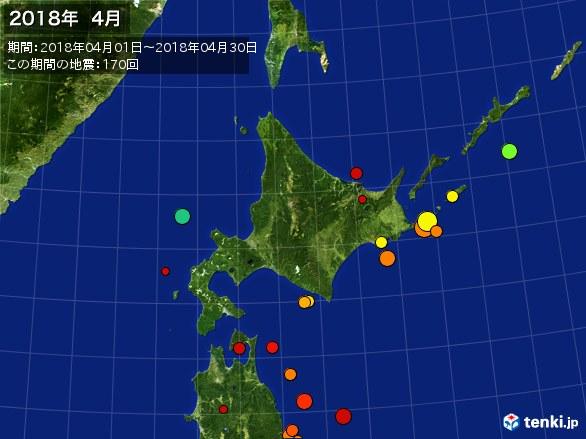 北日本・震央分布図(2018年04月)