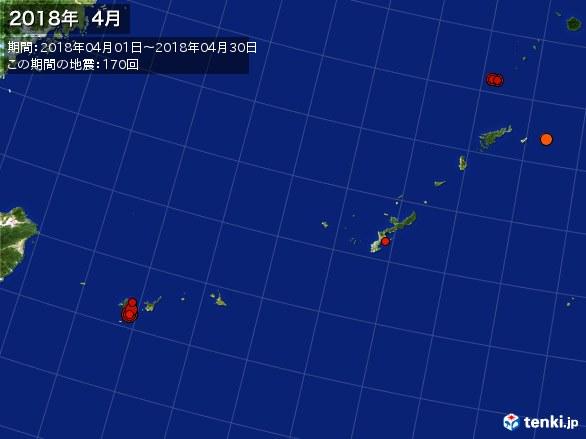 沖縄・震央分布図(2018年04月)