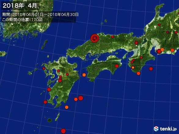 西日本・震央分布図(2018年04月)
