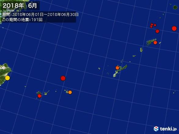 沖縄・震央分布図(2018年06月)