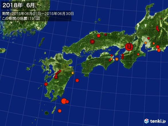 西日本・震央分布図(2018年06月)