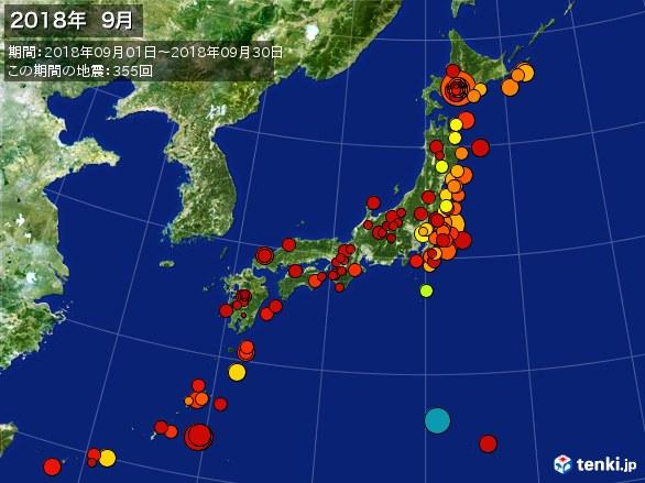 日本全体・震央分布図(2018年09月)