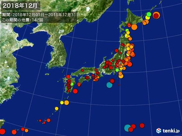 日本全体・震央分布図(2018年12月)