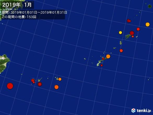 沖縄・震央分布図(2019年01月)
