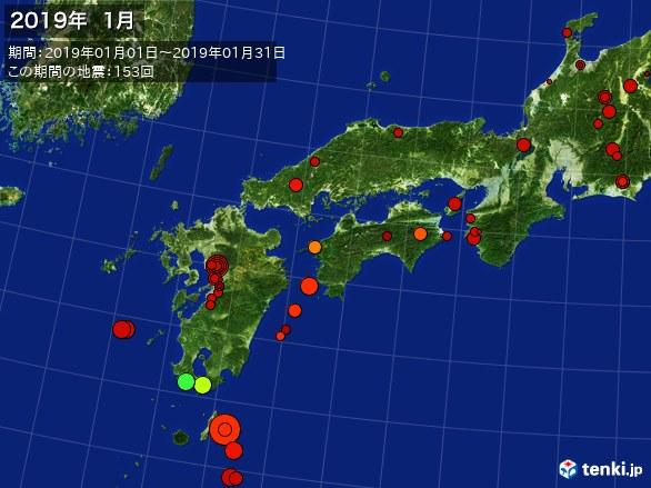 西日本・震央分布図(2019年01月)
