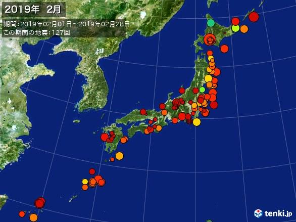 日本全体・震央分布図(2019年02月)