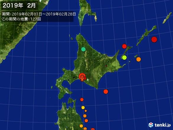 北日本・震央分布図(2019年02月)