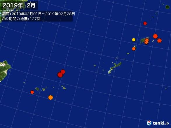 沖縄・震央分布図(2019年02月)