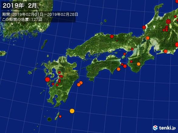 西日本・震央分布図(2019年02月)