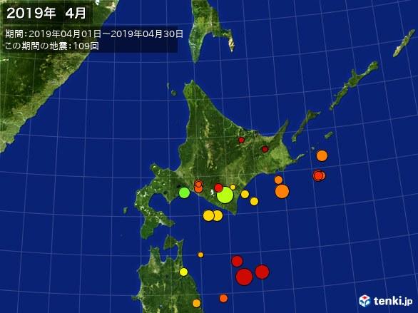 北日本・震央分布図(2019年04月)