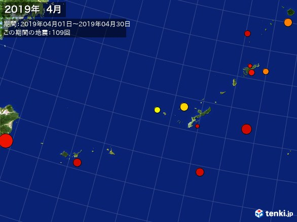 沖縄・震央分布図(2019年04月)