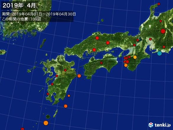 西日本・震央分布図(2019年04月)