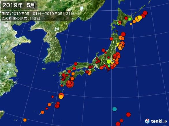 日本全体・震央分布図(2019年05月)