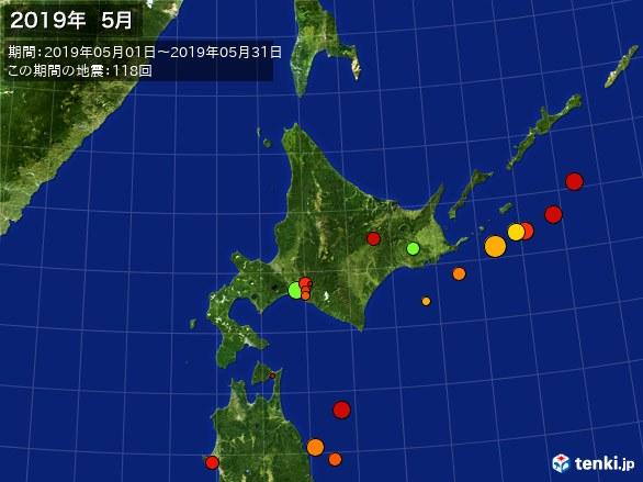 北日本・震央分布図(2019年05月)