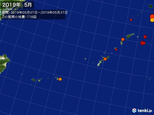 沖縄・震央分布図(2019年05月)