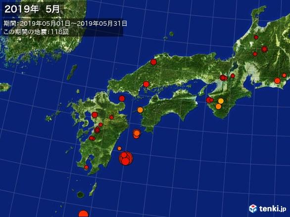 西日本・震央分布図(2019年05月)