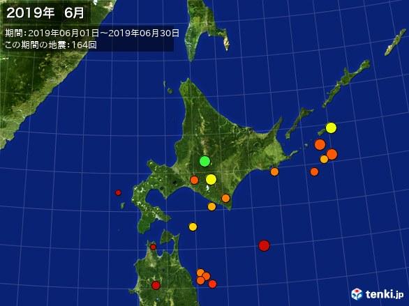 北日本・震央分布図(2019年06月)