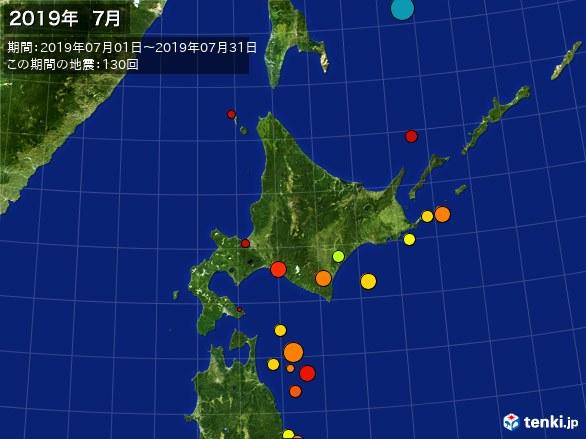 北日本・震央分布図(2019年07月)