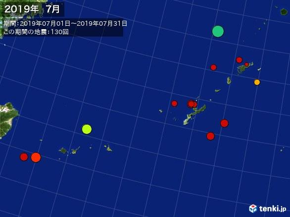沖縄・震央分布図(2019年07月)