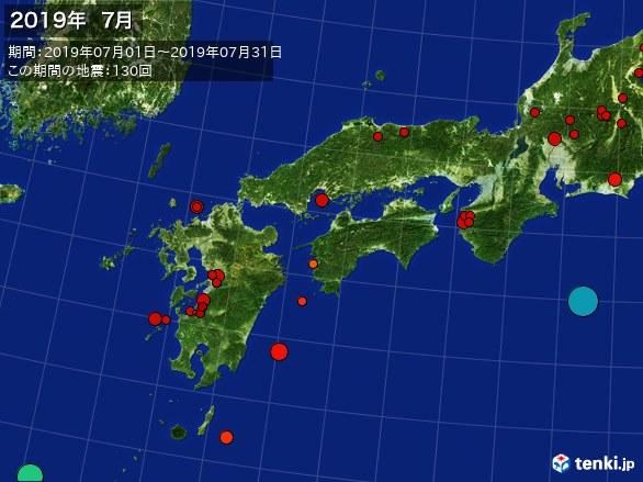 西日本・震央分布図(2019年07月)