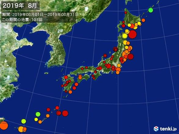 日本全体・震央分布図(2019年08月)