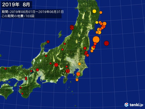 東日本・震央分布図(2019年08月)