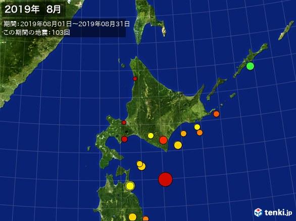 北日本・震央分布図(2019年08月)