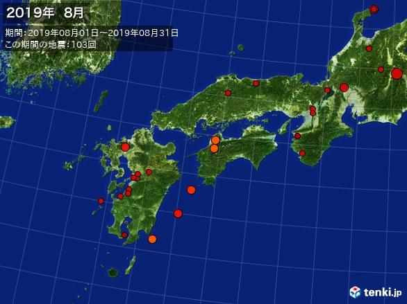 西日本・震央分布図(2019年08月)