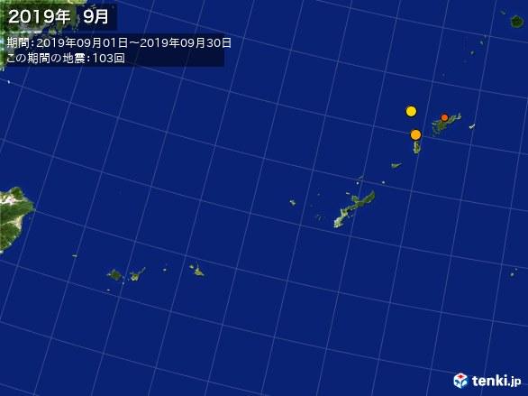 沖縄・震央分布図(2019年09月)