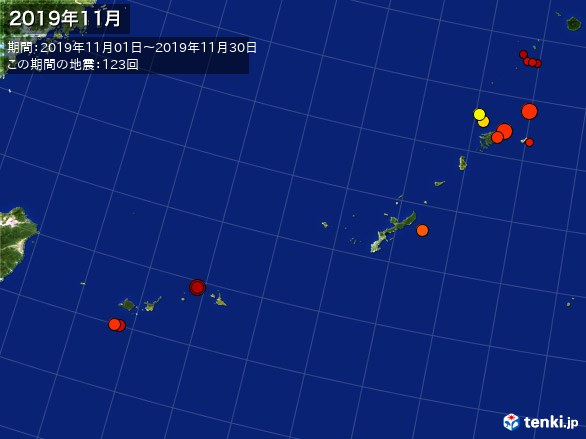 沖縄・震央分布図(2019年11月)