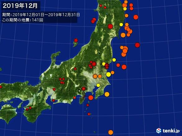 東日本・震央分布図(2019年12月)
