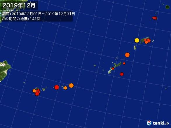 沖縄・震央分布図(2019年12月)
