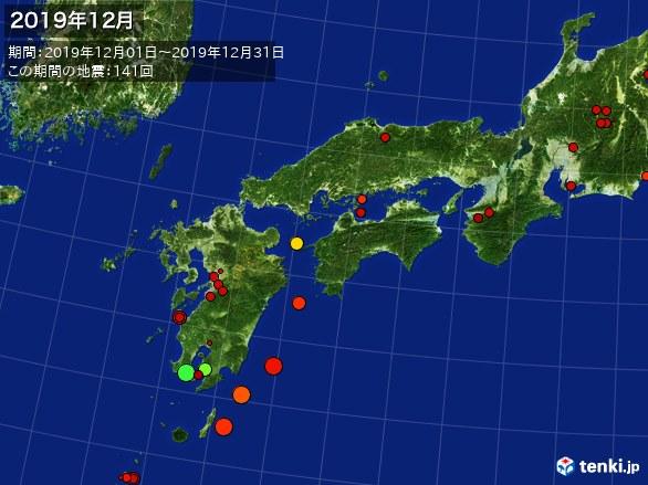 西日本・震央分布図(2019年12月)