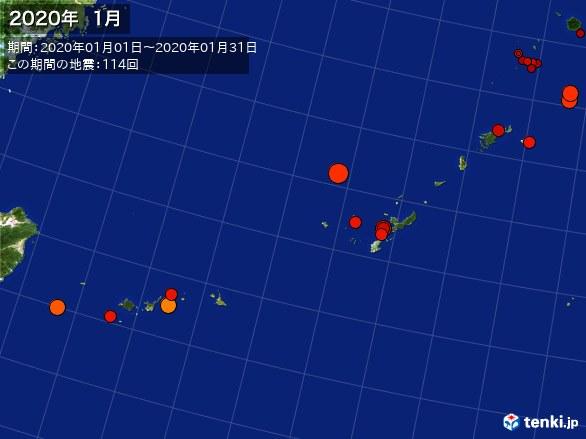 沖縄・震央分布図(2020年01月)