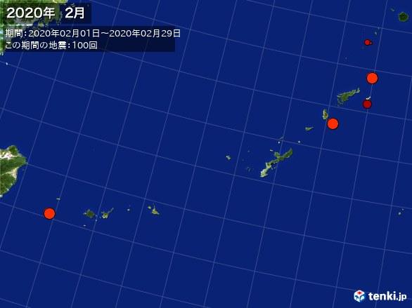 沖縄・震央分布図(2020年02月)