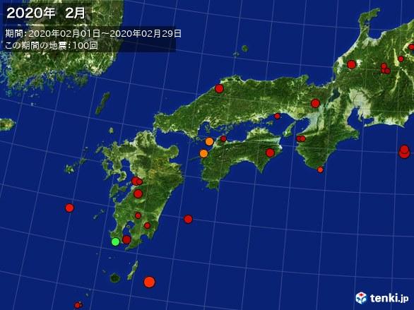 西日本・震央分布図(2020年02月)
