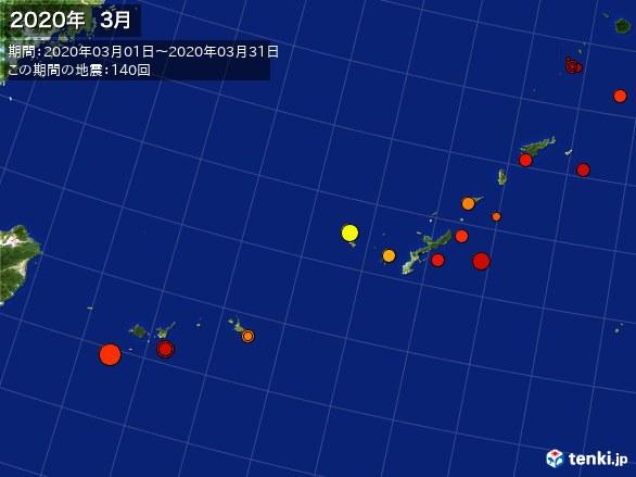 沖縄・震央分布図(2020年03月)