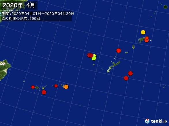 沖縄・震央分布図(2020年04月)