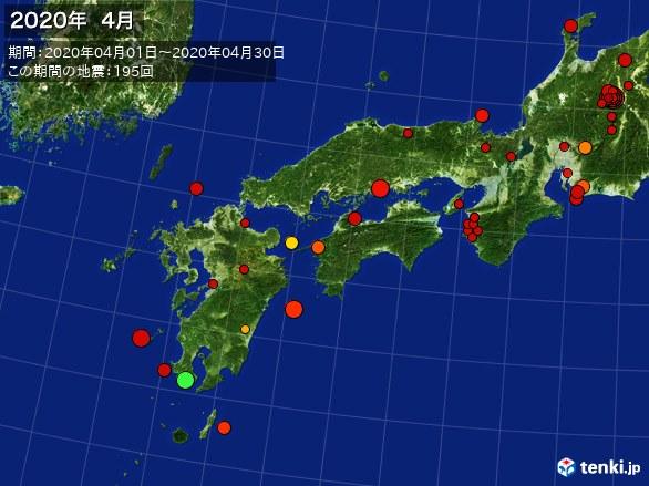 西日本・震央分布図(2020年04月)