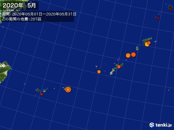 沖縄・震央分布図(2020年05月)
