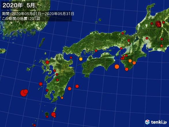 西日本・震央分布図(2020年05月)