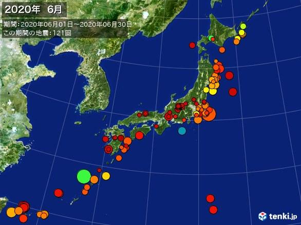 日本全体・震央分布図(2020年06月)