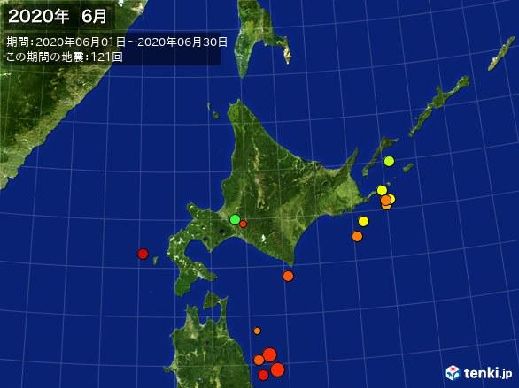 北日本・震央分布図(2020年06月)
