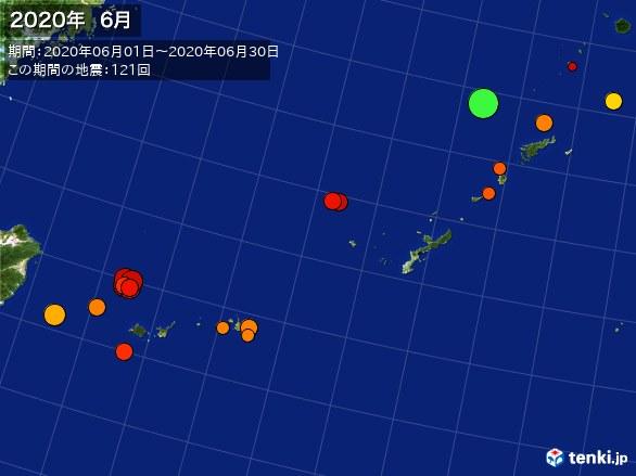 沖縄・震央分布図(2020年06月)
