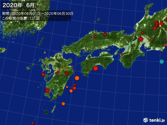 西日本・震央分布図(2020年06月)