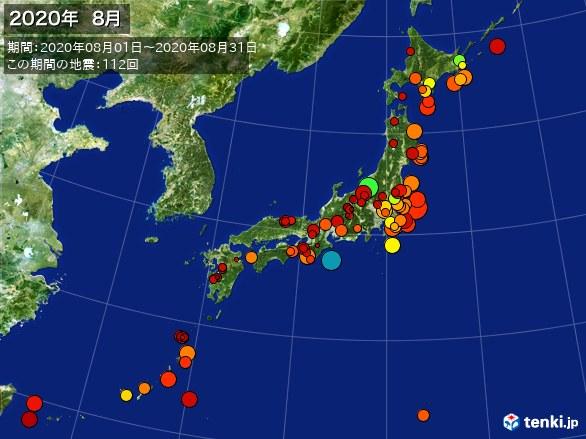 日本全体・震央分布図(2020年08月)