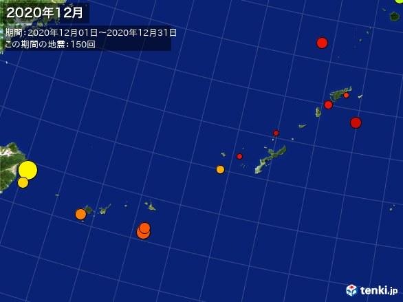 沖縄・震央分布図(2020年12月)