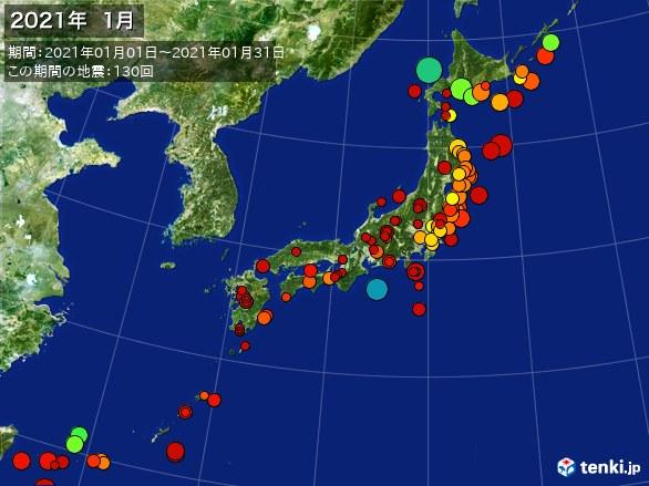 日本全体・震央分布図(2021年01月)