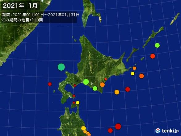 北日本・震央分布図(2021年01月)